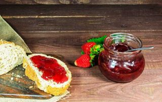 Jam and fresh bread
